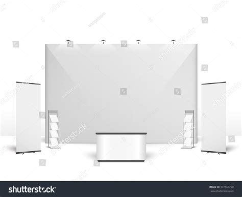 exhibition stand design template white creative exhibition stand design booth stock vector