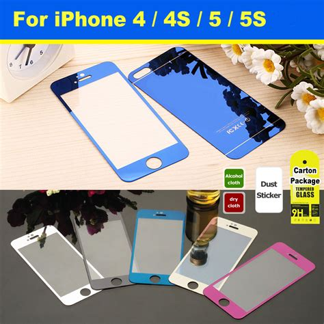 Tempered Glass Premium Iphone 4 4s Mirror Temperedglass Protector front back premium colorful mirror effect tempered glass