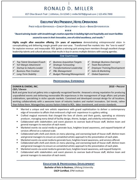 executive resume sles professional resume sles resumes by joyce