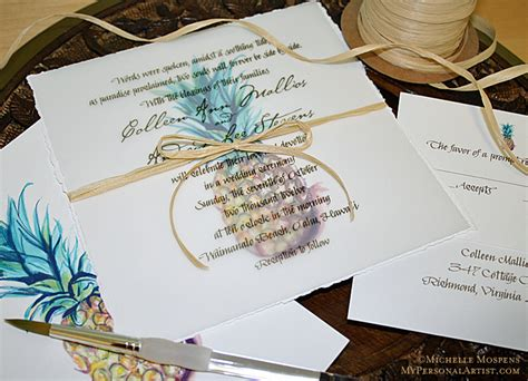 watercolor pineapple hawaiian wedding invitations by