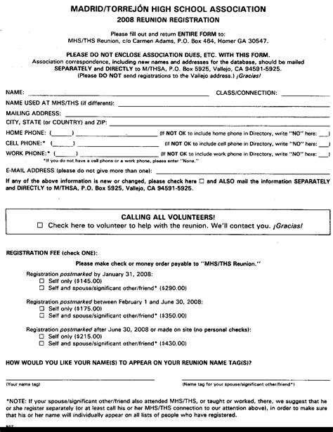 high school registration form template family reunion registration packet template