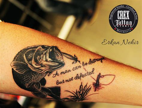 tattoo artist quotes fish tattoos arm forearm hook ernest hemingway quotes