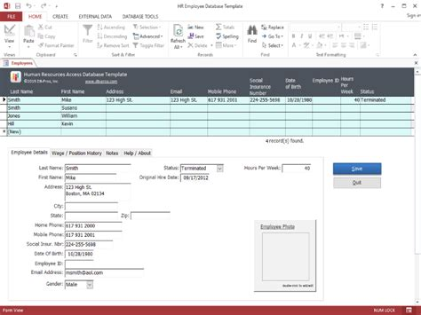 database template access hr employee ms access database template 1 1 0 screenshot