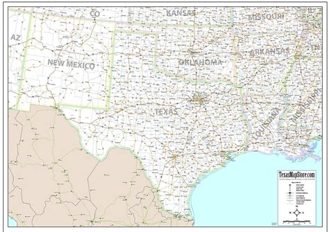texas map store south central us wall map