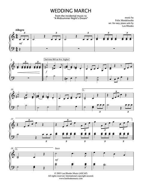 Wedding March, (Mendelssohn)   easy piano ? Len Rhodes