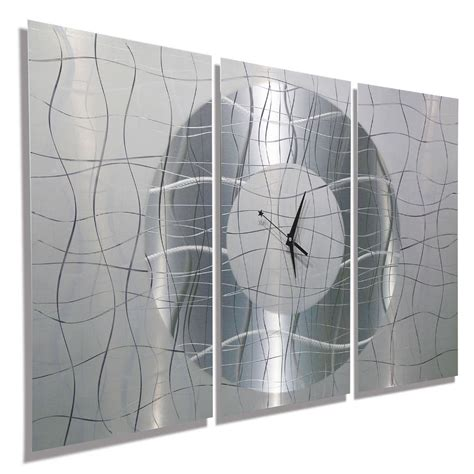 modern silver clock large modern white silver metal abstract wall clock