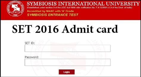 Symbiosis Admission 2016 For Mba by Set Admit Card 2016 Symbiosis Entrance Test Set