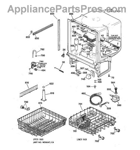 ge appliance parts ge wd28x10284 lower dishrack assembly appliancepartspros