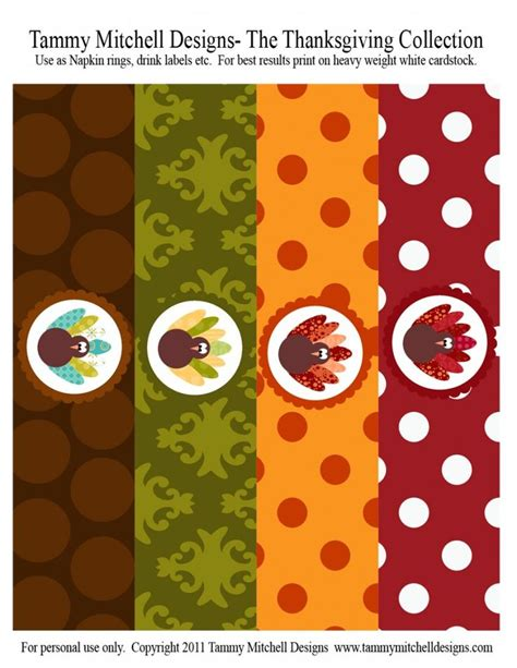 printable thanksgiving napkin ring craft napkin rings or drink bottle labels thanksgiving