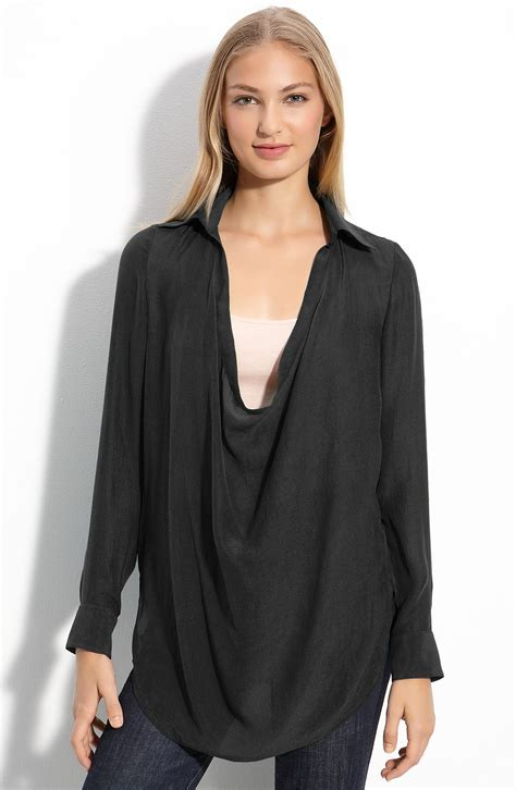 drape neck blouses haute hippie drape neck blouse in black lyst
