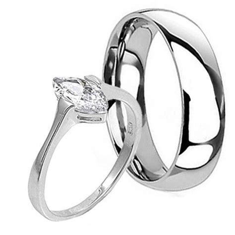sterling silver titanium wedding promise band