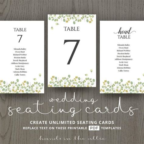 Leaves Wedding Table Name Cards Guest List Printable Number Table List Wedding Template