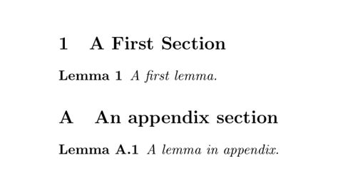 latex appendix section theorems numbering of lemmas in appendix tex latex