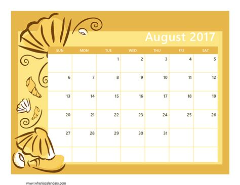 august 2017 calendar printable template with holidays pdf