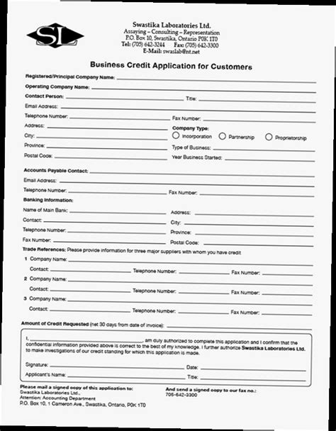 Credit Application Template For Small Business Business Credit Application Form Pdf Obfuscata