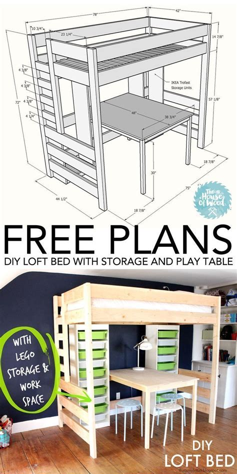 diy loft bed  desk  storage green shelves