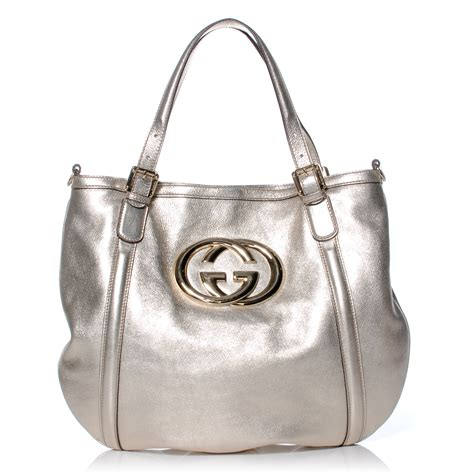 Tote Platinum gucci leather medium britt tote platinum 42496