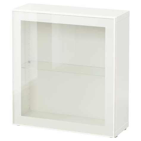 besta 60x20x64 best 197 shelf unit with glass door white glassvik white