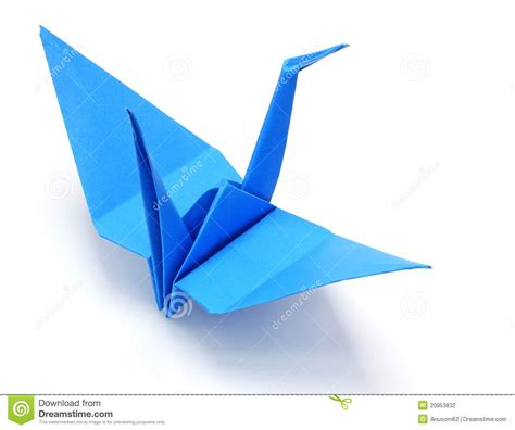 Blue Origami Paper - blue origami paper crane stock photography image 20953832