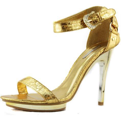 gold dress shoes gold sandals ankle buckle platform high heel evening