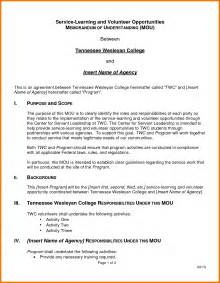 memo of understanding template 7 memorandum of understanding template assistant cover