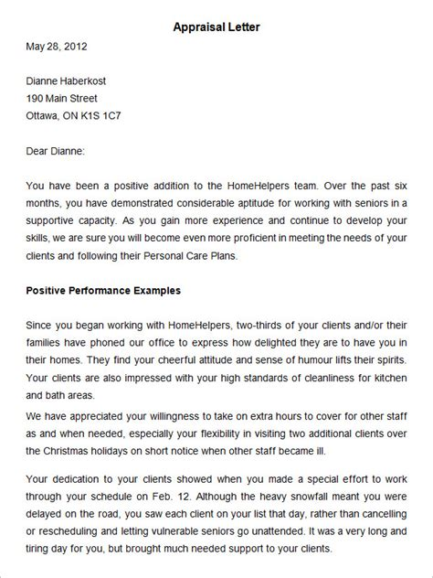 Appraisal Letter Reply sle letter of employee performance review cover