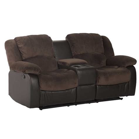 Recliners With Console by Luxury Fabric 2 Seater Recliner With Console