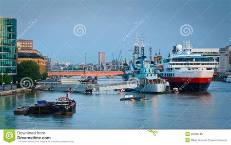 thames river shipyard hms belfast and a cruise ship london editorial photo