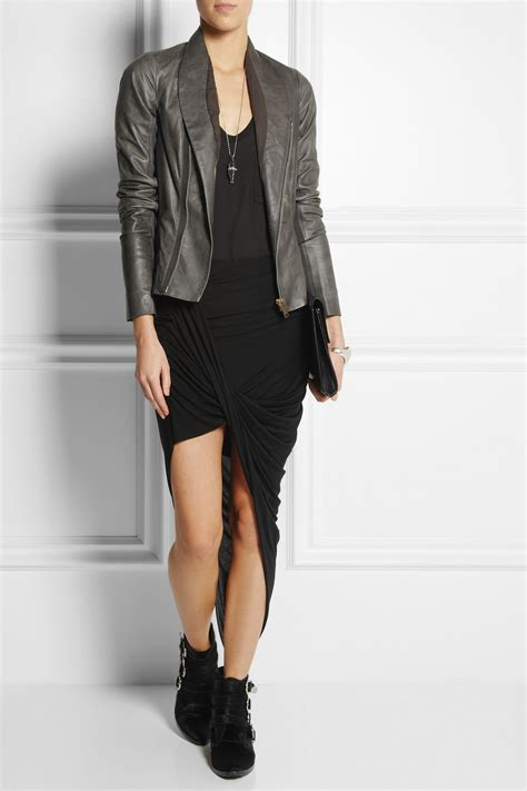 asymmetrical draped skirt helmut lang asymmetric draped jersey skirt in black lyst