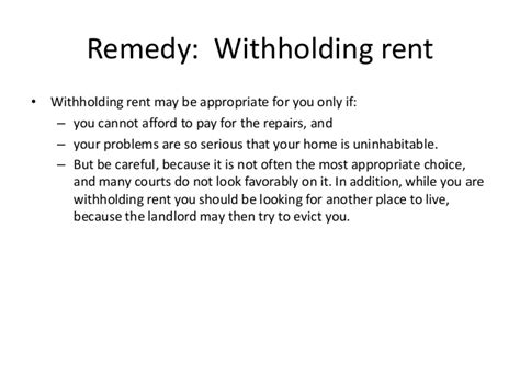 Withhold Rent From Landlord Letter remedies for needed repairs