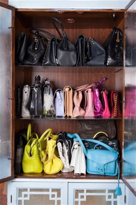Purse Storage Cabinet by Color Coded Handbag Storage On A Boodshelf This Is A