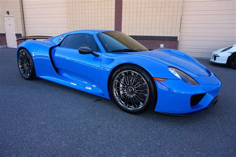 blue porsche spyder beautiful quot voodoo blue quot porsche 918 spyder for sale 95