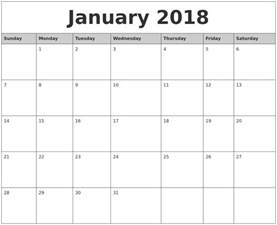Calendar January 2018 January 2018 Monthly Calendar Printable