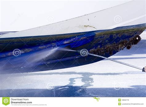 boat jet wash boat hull cleaning water pressure washer stock image