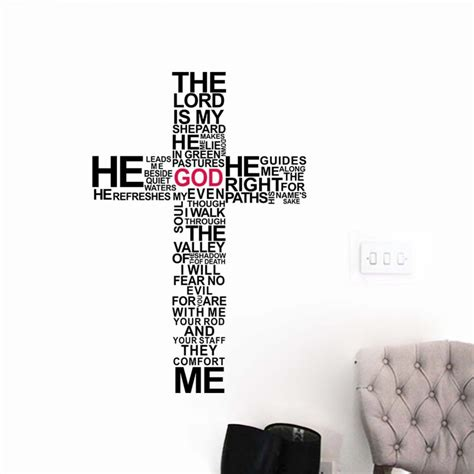 Christian Home Decor Wall Art by Cartoon Typography Christian God Cross Wall Art Sticker