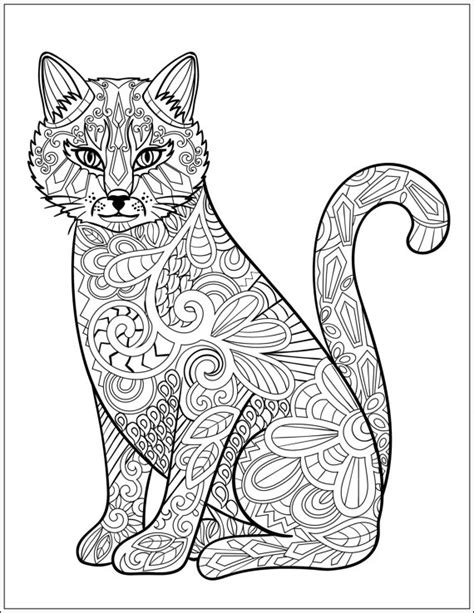 mandala coloring pages cat cat stress relieving designs patterns by