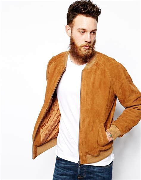 Jaket Bomber Scrimmers Brown Wood lyst asos suede bomber jacket in brown for