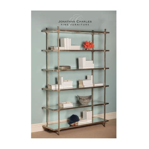 designer silver glass etagere display bookcase swanky