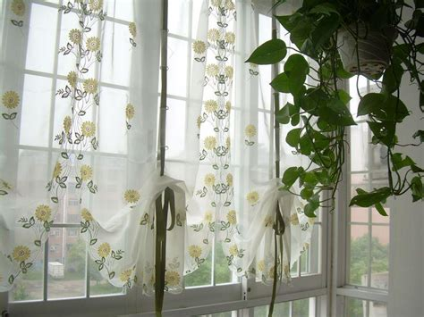 balloon curtains for kitchen french country embroidered balloon shade sheer voile cafe