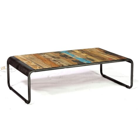 table basse rectangulaire r 233 tro fer d 233 poli et planches de