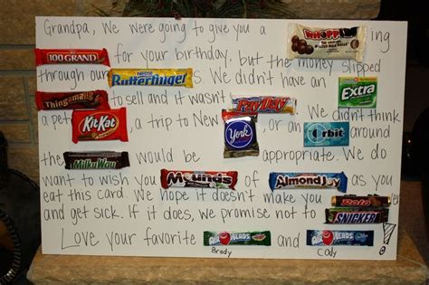 Birthday Card Made Out Bars Gift Ideas Gifts And Candy Bars On Pinterest