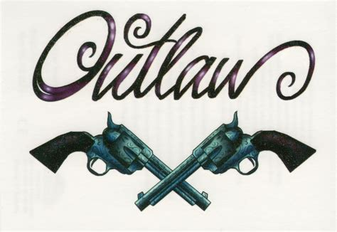 tattoo fonts western outlaw script letters revolvers guns western west