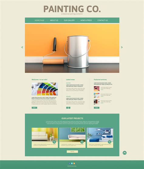 Painting Company Responsive Website Template 52492 Painting Company Website Templates Free