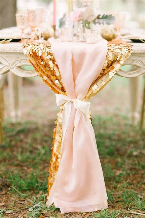blush sequin table runner 32 blush and gold wedding ideas weddingomania