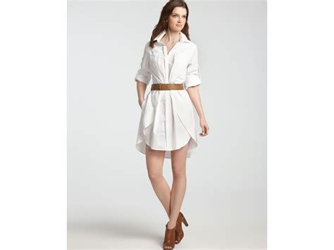 shirt dress cotton with belt in white lyst