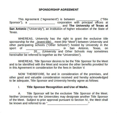 13 Sponsorship Agreement Sles Sle Templates Sponsorship Contract Template Word