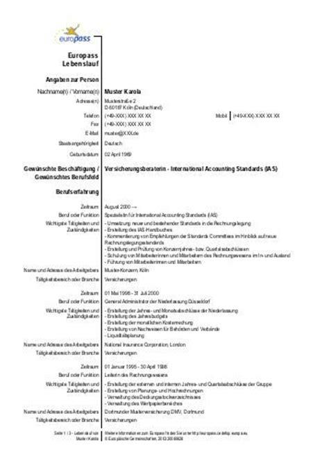 Lebenslauf Muster Für Praktikum Europass Lebenslauf