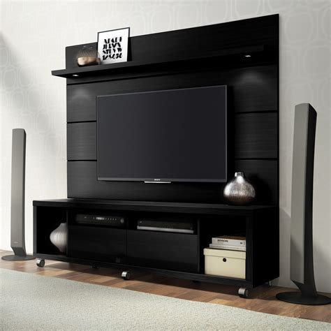 Home Decor Manhattan Cabrini Tv Stand And Tv Panel W Led Lights 1 8 Black Buy