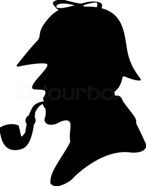 Vintage Home Design Inspiration silhouette pipe smoker sherlock holmes stock vector