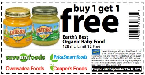 printable grocery coupons for organic foods more rewards members coupons buy 1 earth s best organic
